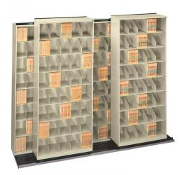Movable Lateral Shelving, Bi-File High Density Storage System
